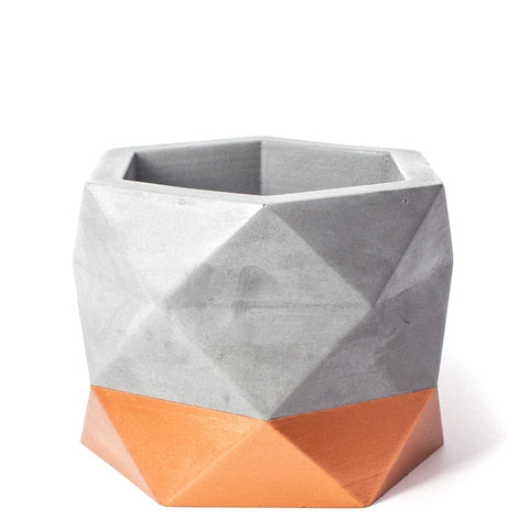 Concrete Geometric Planter: Bronze X-Large