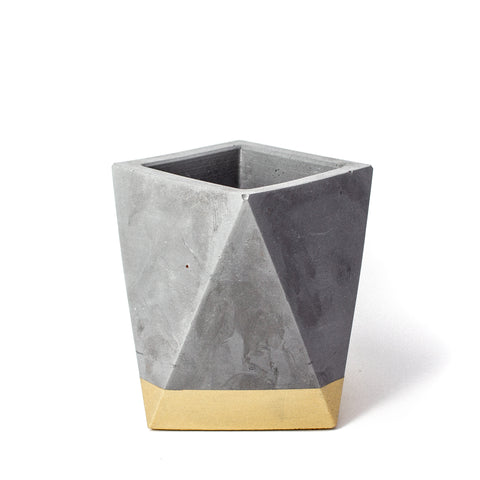 Concrete Geometric Vase: Gold