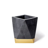 Concrete Geometric Vase: Black & Gold