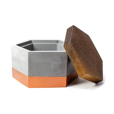 Concrete Hexagon Box (Bronze) with Wooden Lid