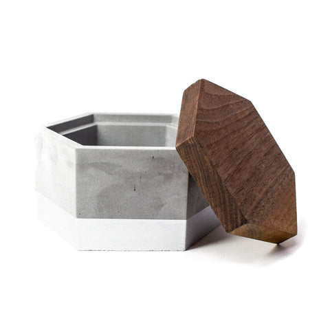 Concrete Hexagon Box (Silver) with Wooden Lid