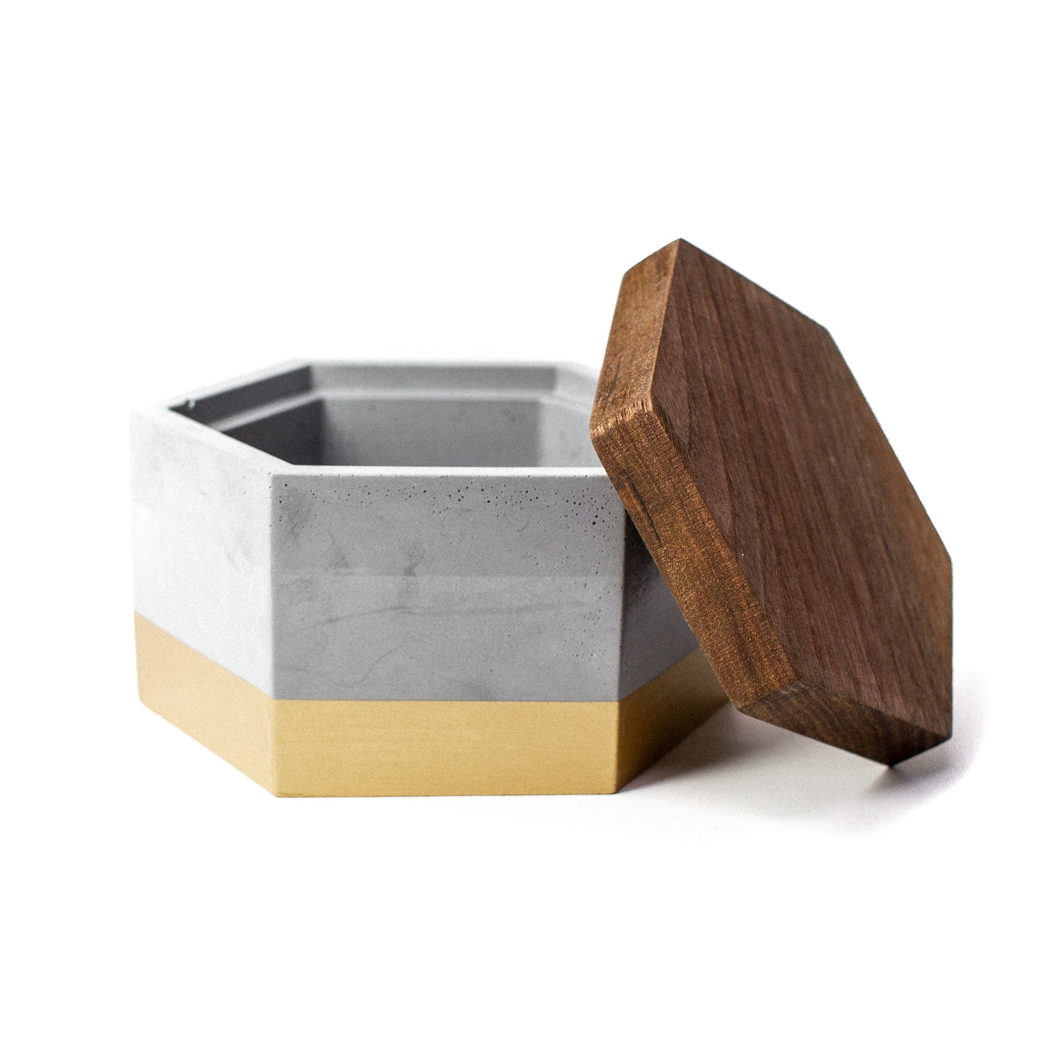 Concrete Hexagon Box (Gold) with Wooden Lid