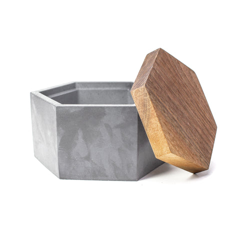 Concrete Hexagon Box with Wooden Lid