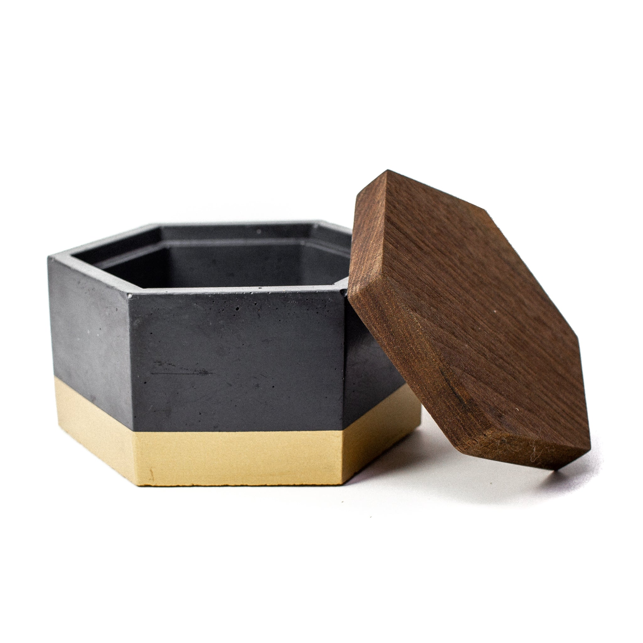 Concrete Hexagon Box (Black & Gold) with Wooden Lid