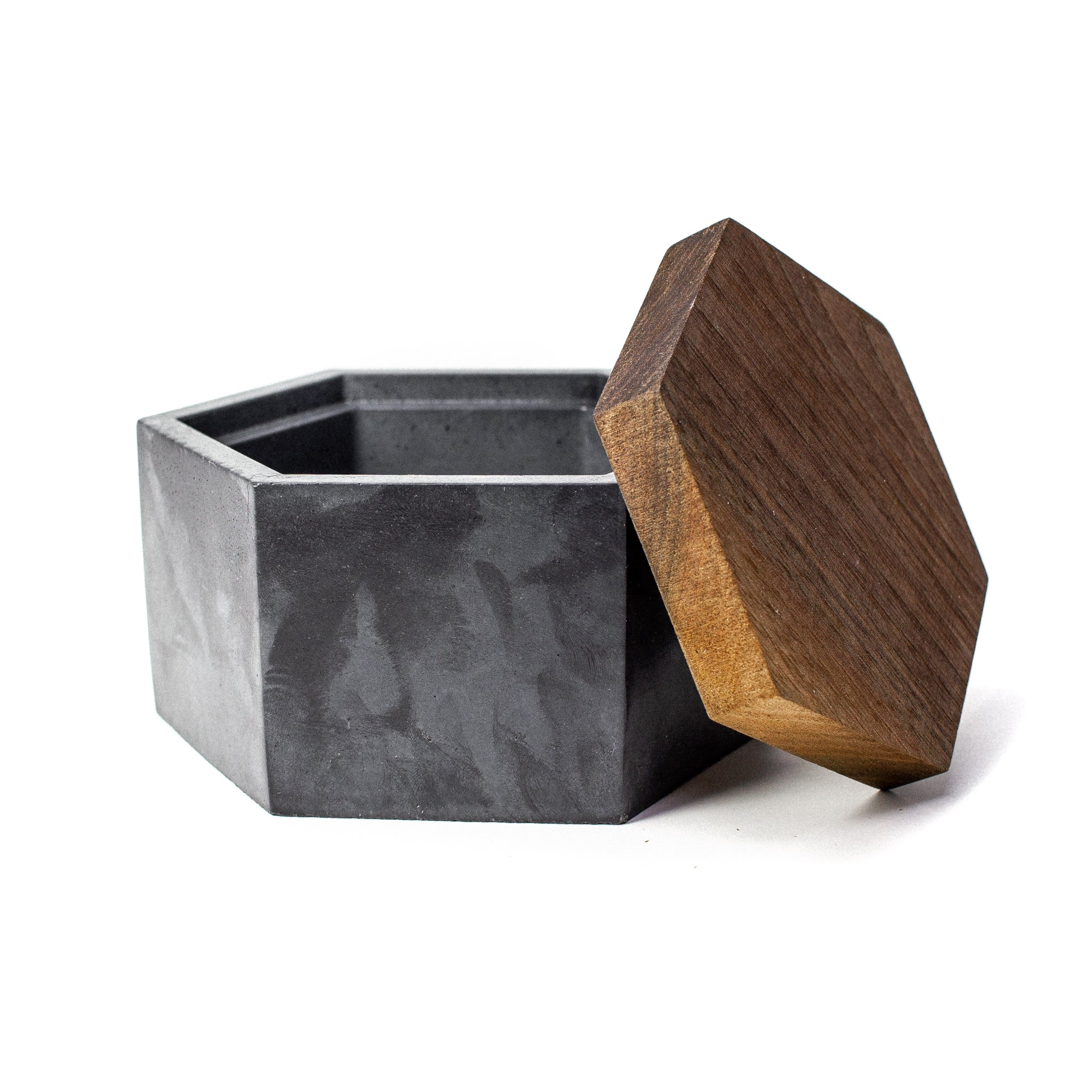 Concrete Hexagon Box (Carbon Black) with Wooden Lid