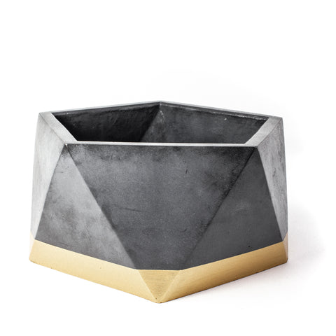 Concrete Icosahedron Planter: Black & Gold X-Large