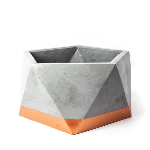 Concrete Icosahedron Planter: Bronze X-Large