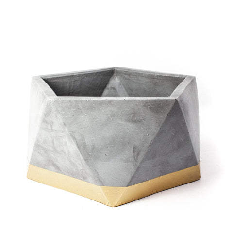 Concrete Icosahedron Planter: Gold X-Large