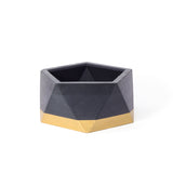 Concrete Icosahedron Planter: Black & Gold Small