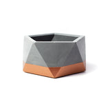 Concrete Icosahedron Planter: Bronze Small
