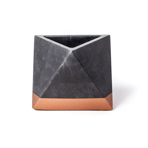 Concrete Octahedron Planter: Black & Bronze