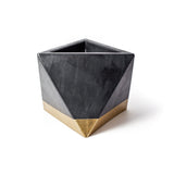 Concrete Octahedron Planter: Black & Gold