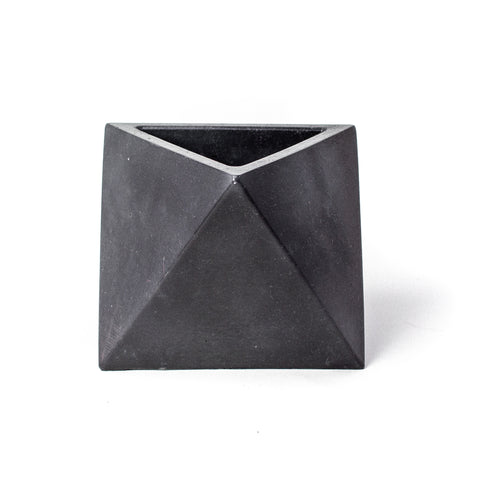 Concrete Octahedron Planter: Carbon Black