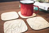 Topography Map Wooden Coasters (Basswood - Set of 4)