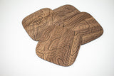 Topography Map Wooden Coasters (Walnut - Set of 4)