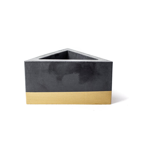 Concrete Triangular Prism Planter: Black & Gold