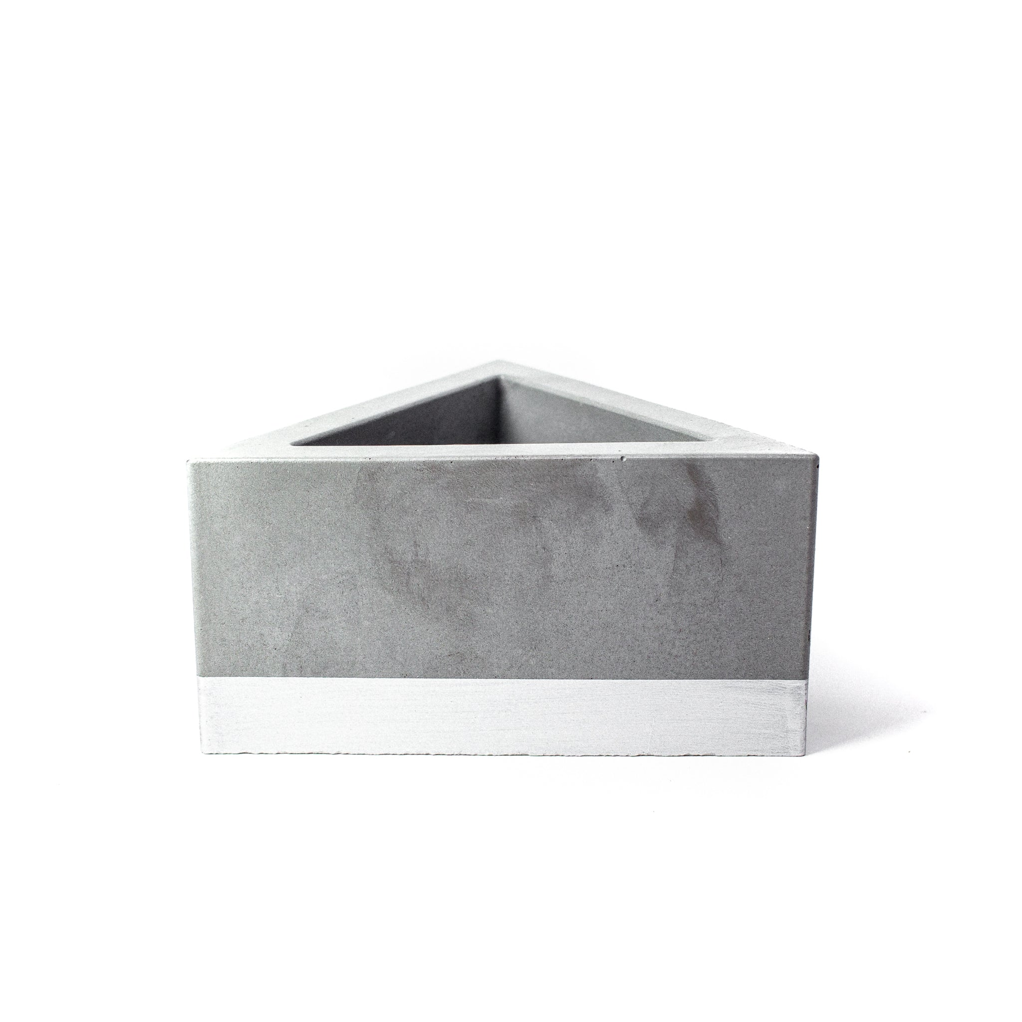 Concrete Triangular Prism Planter: Silver