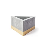 Concrete Triangular Prism Planter: Gold