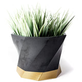 Concrete Twisted Octagon Planter: Black & Gold
