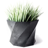 Concrete Twisted Octagon Planter: Carbon Black