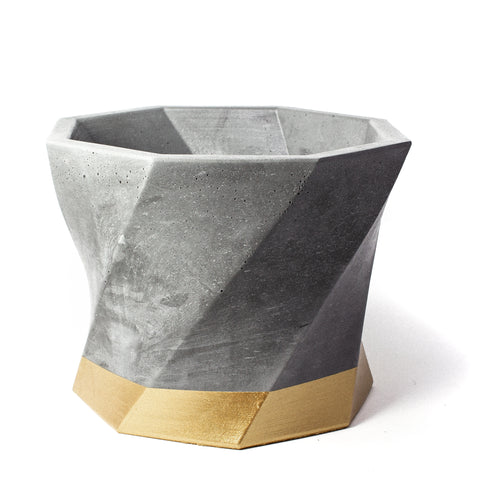 Concrete Twisted Octagon Planter: Gold