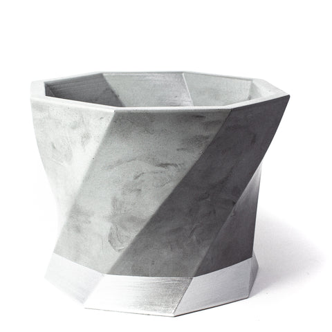 Concrete Twisted Octagon Planter: Silver