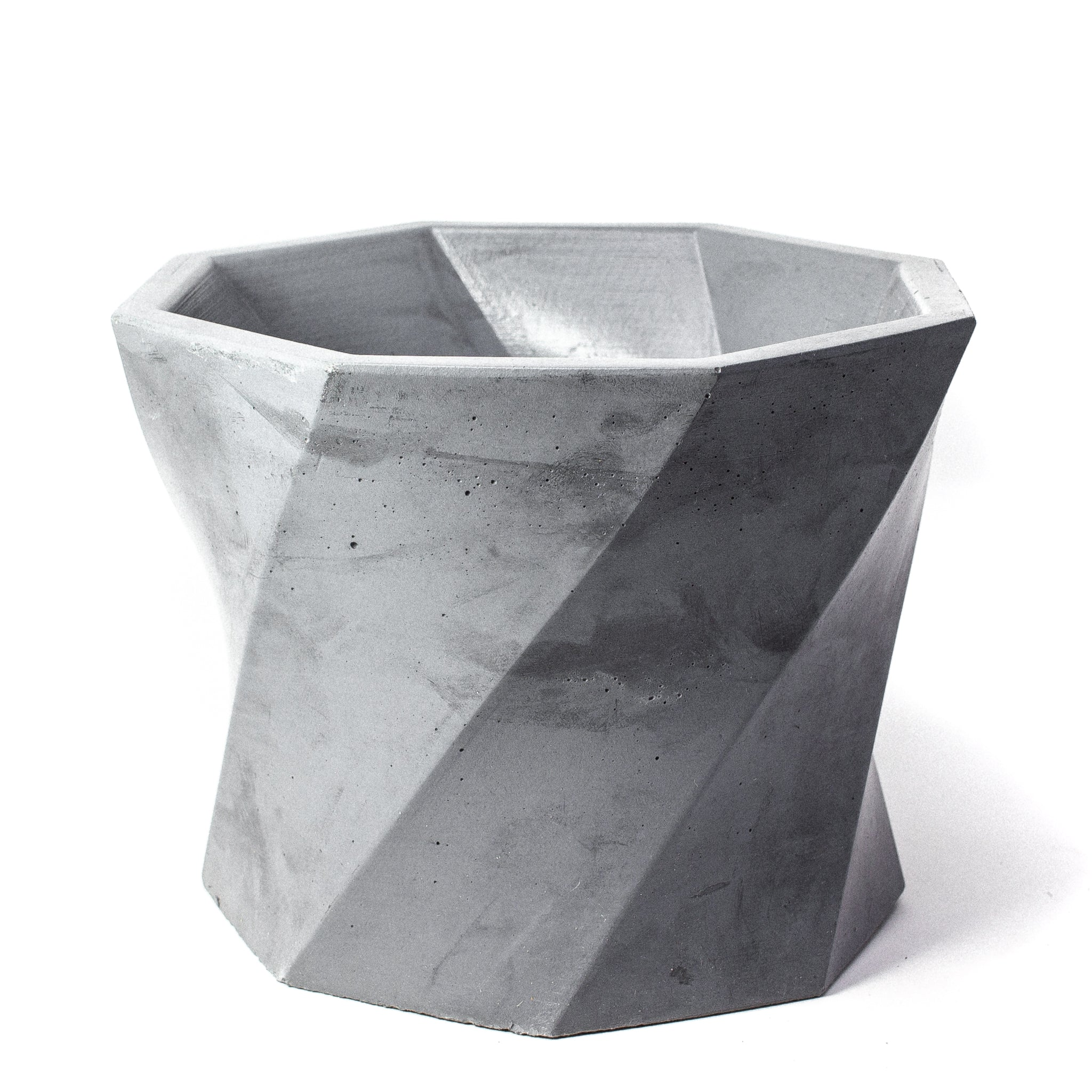 Concrete Twisted Octagon Planter