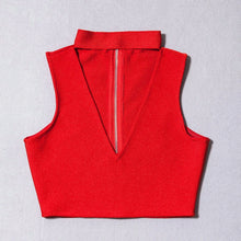 Bandage Red crop top/ v- neck