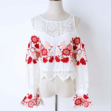 Embroidered white blouse/ long sleeves