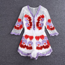 Embroidered playsuit/ flowery designs