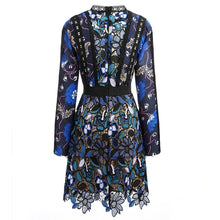 Long sleeves flowery dress/ embroidered