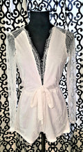 White playsuit/ long sheer sleeves/ lace