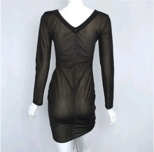 Long sleeves black dress/ v- neck