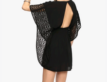 Black short dress/ embroidered batwing sleeves