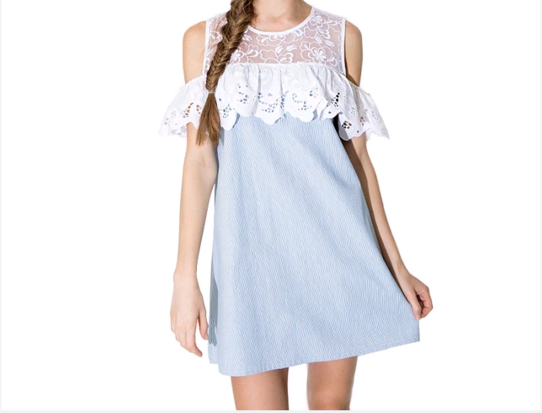 Blue dress with lace/ loose dress, off shoulder