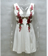 White dress/ red embroidered flowers