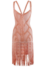 Bandage Peach dress with rhinestones/ v- neck