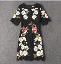 Black lace dress with embroidered flowers