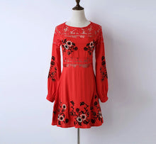 Red lace dress/ embroidered flowers/ short