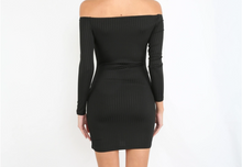 Off shoulder black dress/ long sleeves