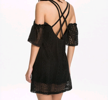 Short embroidered black dress