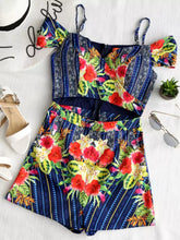 Blue Spicy Flowers Romper
