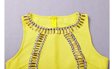 Embellished Yellow Bodycon Dress