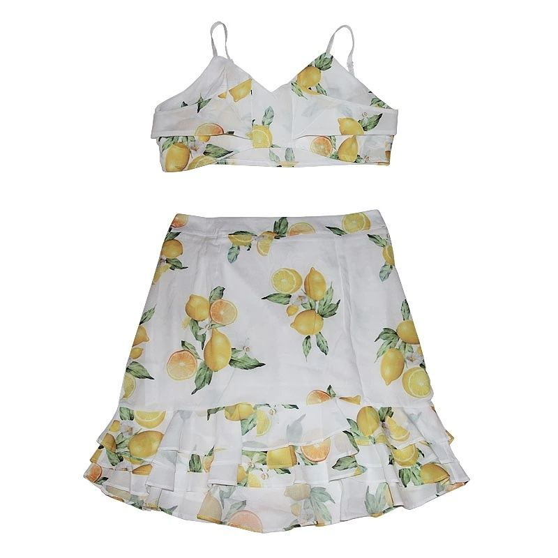 Sexy Lemon Print Crop Top and Skirt
