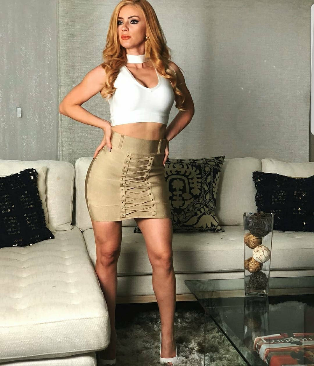 Bandage Khaki Lace Up Skirt