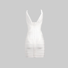 Bandage V-neck white dress