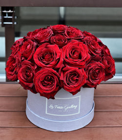 Black Pearl Dark Red Roses in a Signature Grey Box