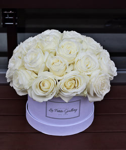 Velvet White Roses in a Signature White Box