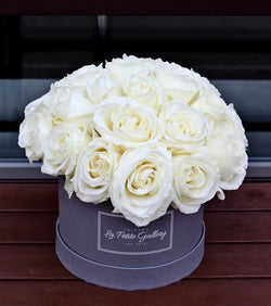 Velvet White Roses in a Signature Grey Box