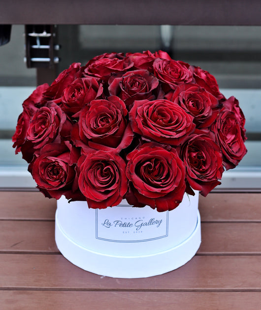 Black Pearl Dark Red Roses in a Signature White Box